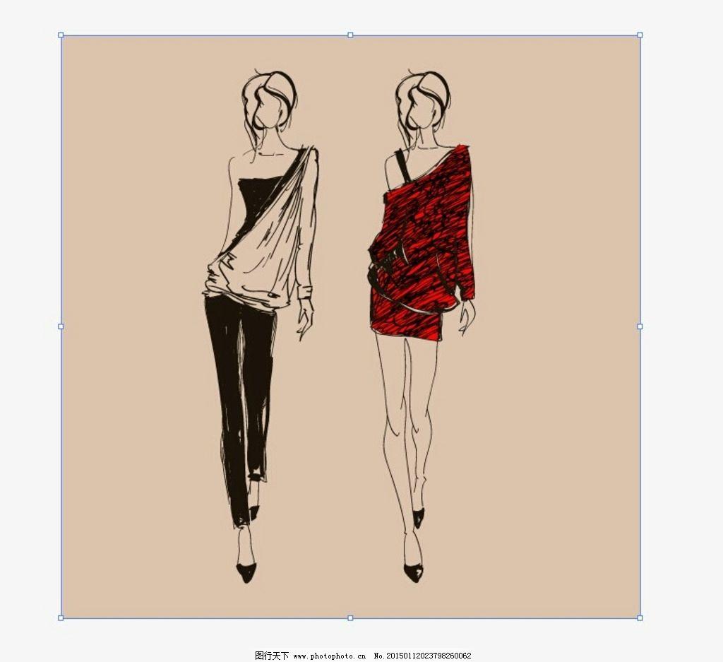时尚手绘女人 矢量 场景画 人物 楼房 动物 狗 艺术 艺术效果