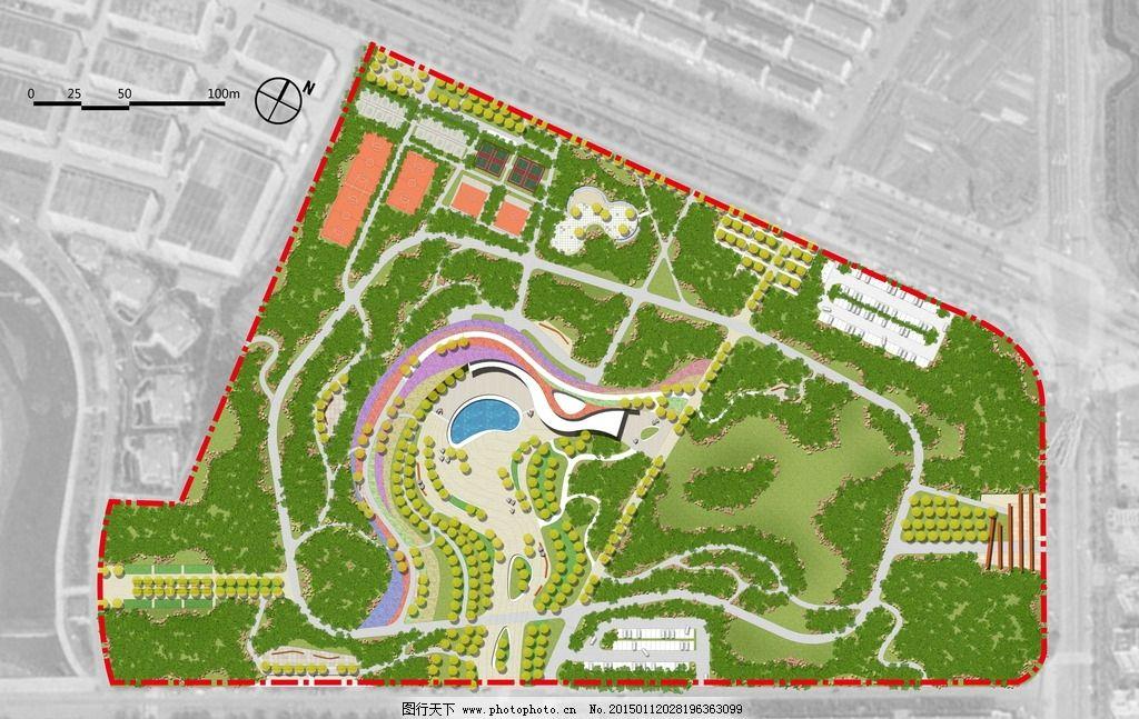 公园绿地彩平图片,风景 城市 居住区 规划彩平 平面图
