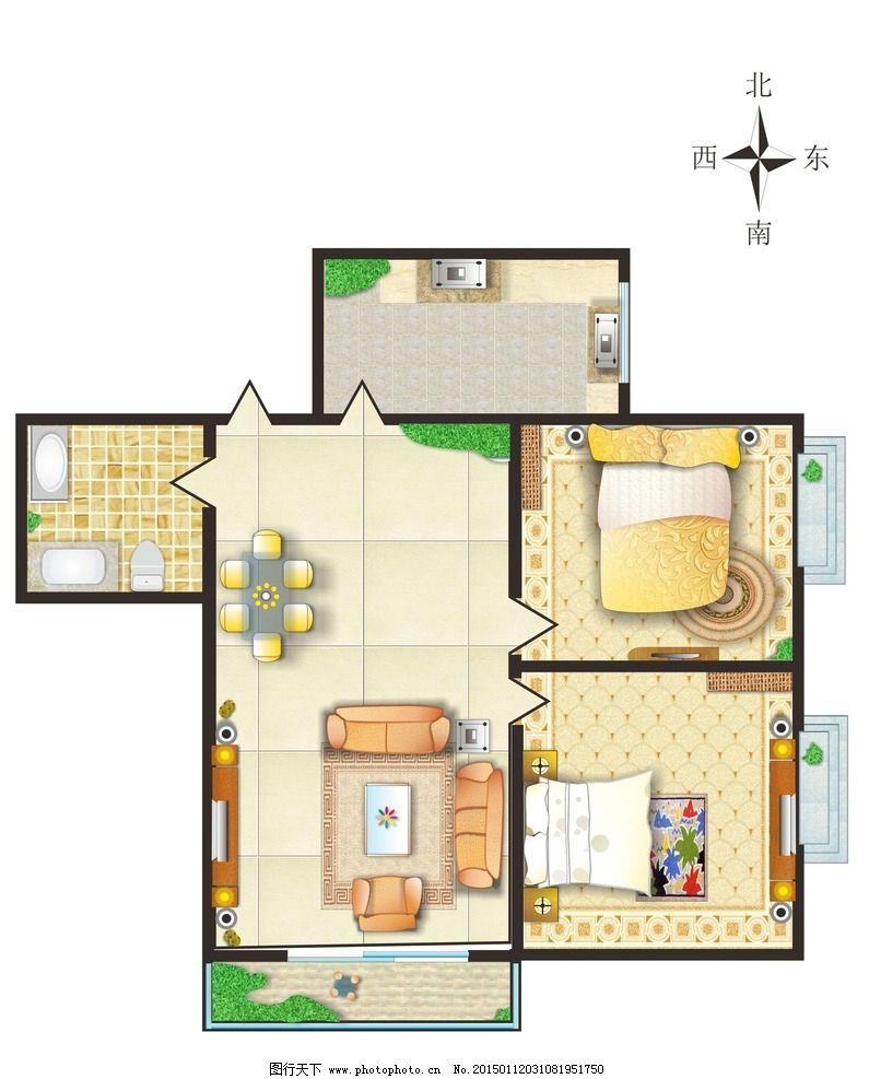 平面户型图 家装户型图 户型图 户型模版 楼房平面图 户型展板 彩色