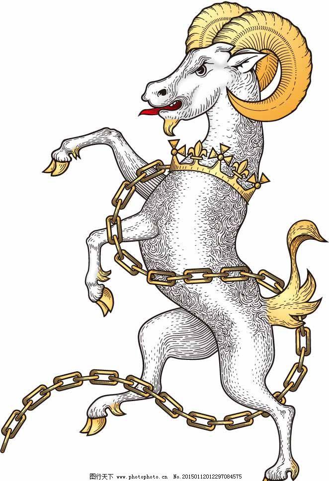 手绘古代山羊怪物纹章图片