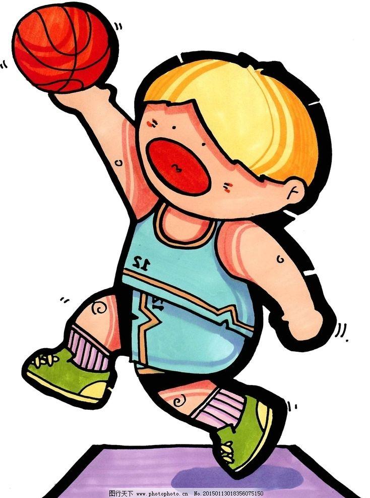 篮球小健将卡通 海报 宣传画 男孩 动漫动画