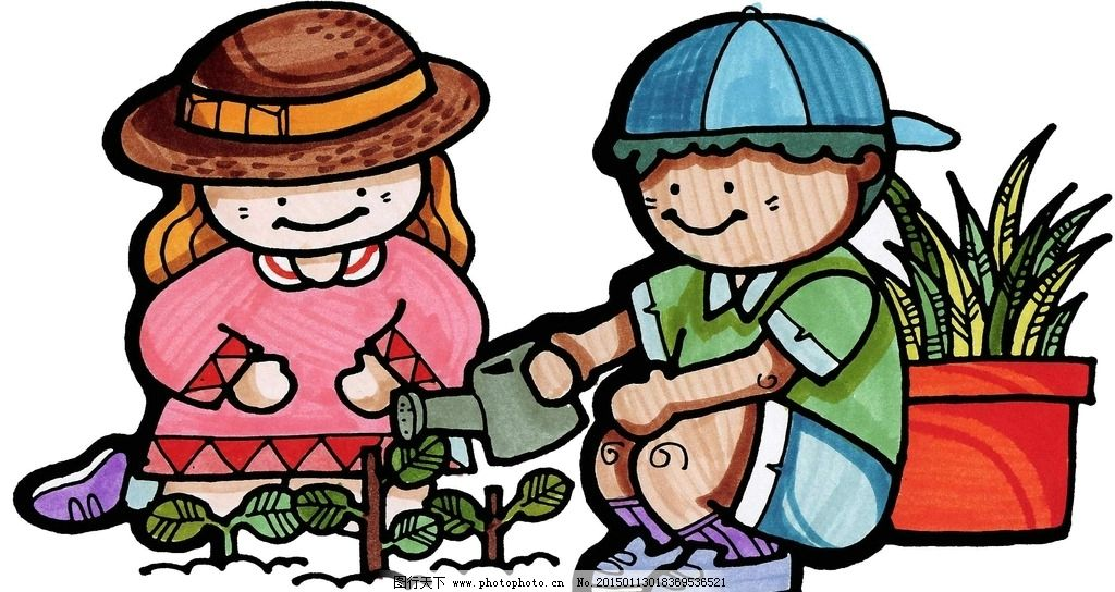 劳动小能手图片,浇花 卡通 男孩 女孩 花草 海报设计