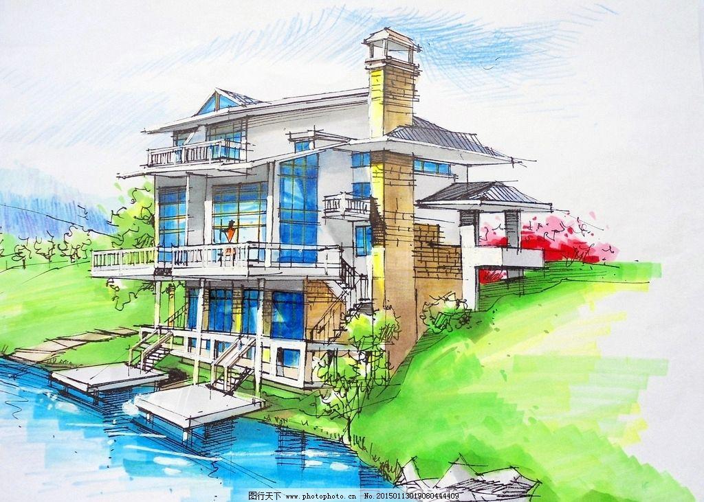 别墅图片,乡间别墅 河畔别墅 现代建筑 现代别墅 手绘