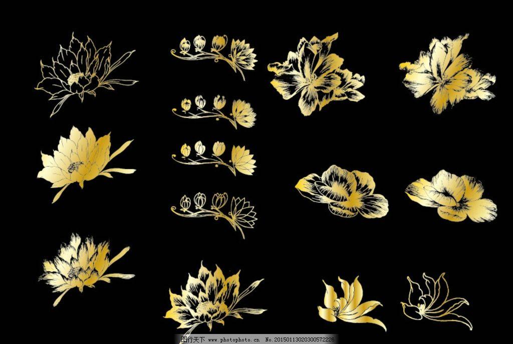 线描矢量花 线描花 矢量花 花朵 花素材 花 设计 底纹边框 花边花纹
