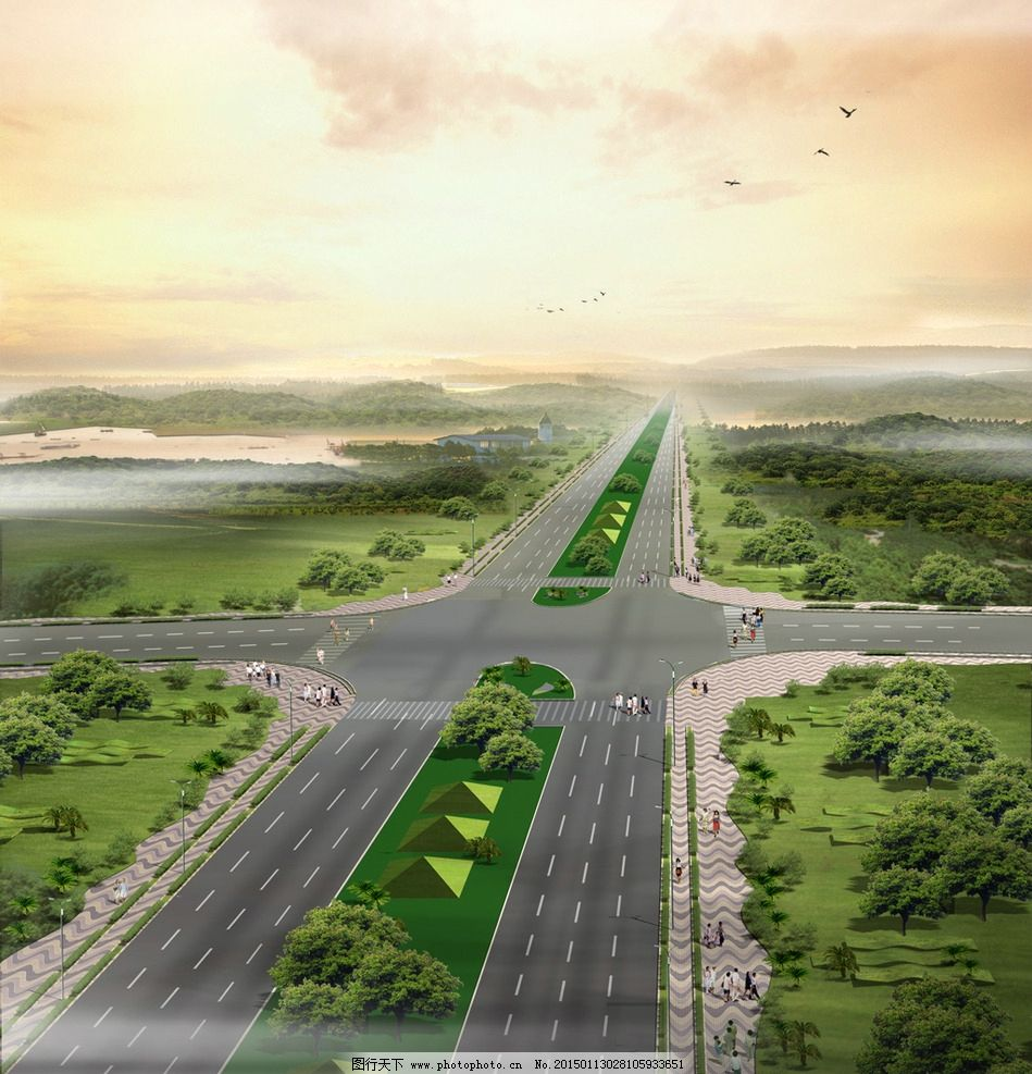 马路景观鸟瞰图图片