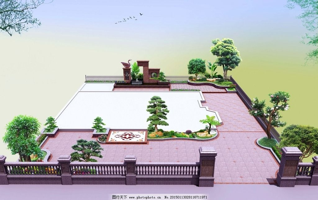 花园鸟瞰图 别墅花园效果 特色景墙 别墅花园 景观设计 设计 环境设计
