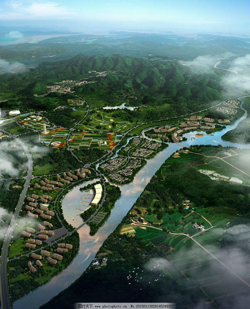 生态城市规划鸟瞰图图片_景观设计_环境设计