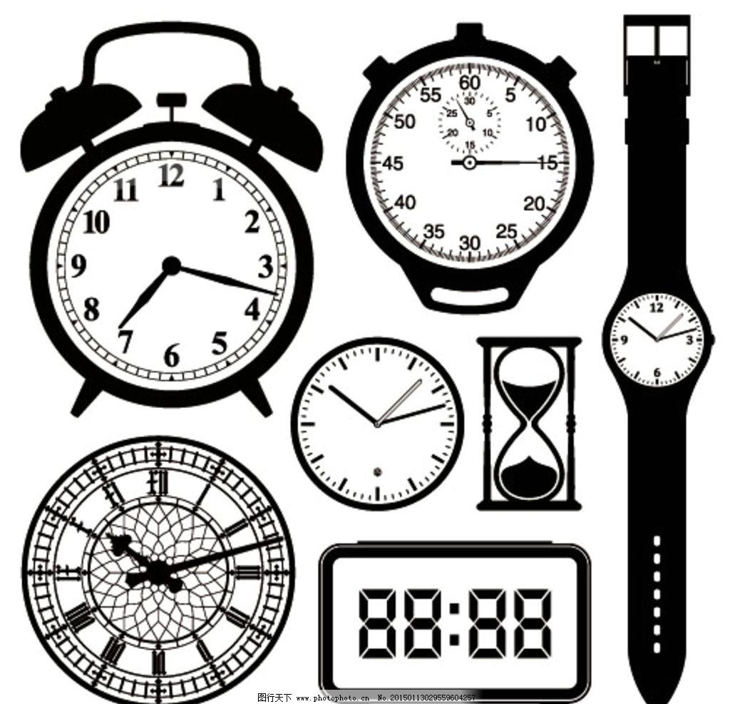 手绘时钟表盘矢量素材图片