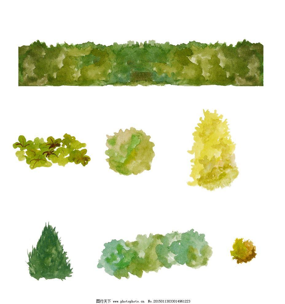 水彩植物素材 水彩灌木素材 手绘灌木 手绘素材 手绘植物 水彩画植物
