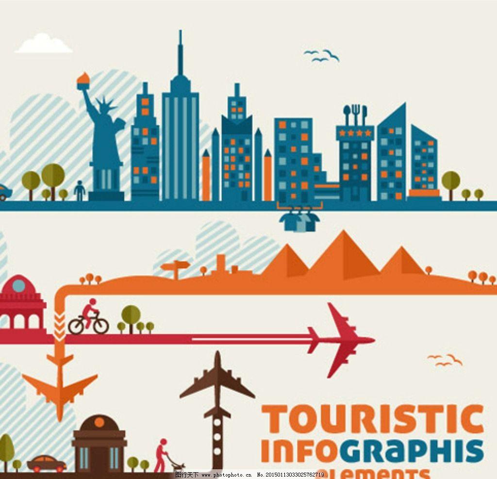 城市旅行扁平化素材图片