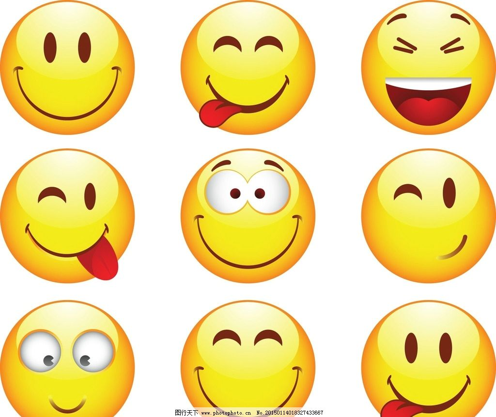 欢快表情 卡通头像 笑脸 吐舌头 可爱头像 图片素材 卡通ai矢量 eps