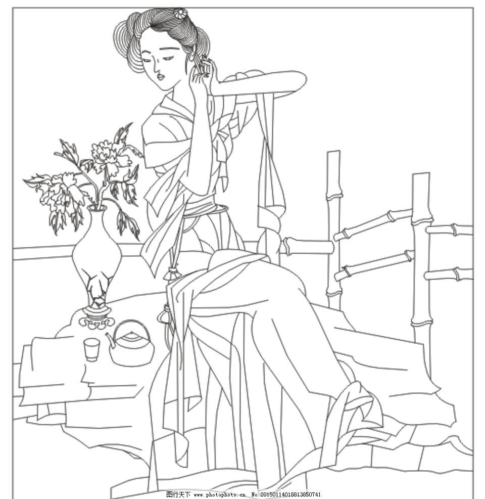 古代美女手绘黑白