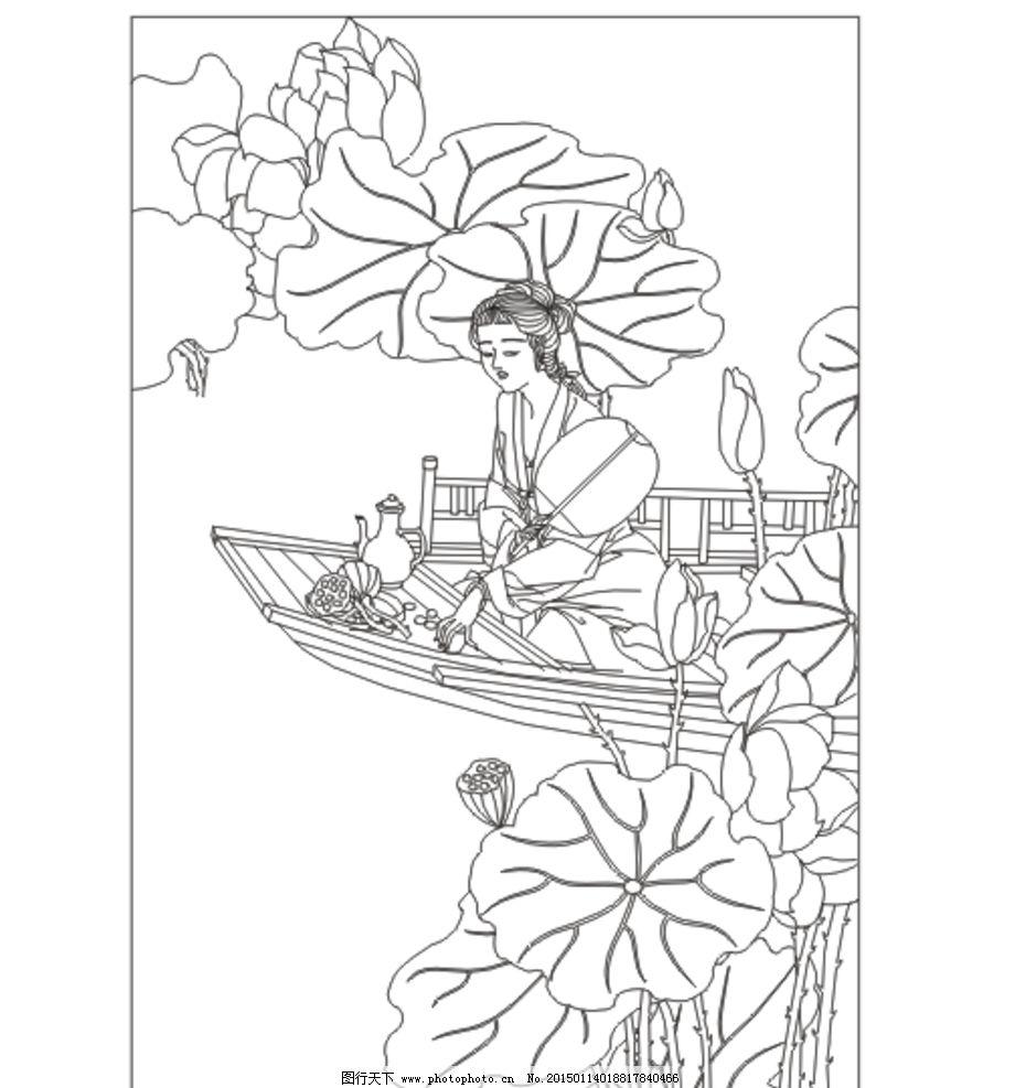 古典美女 美女 荷花 船 古装人物 插图 插画 矢量图 人物素材 背景