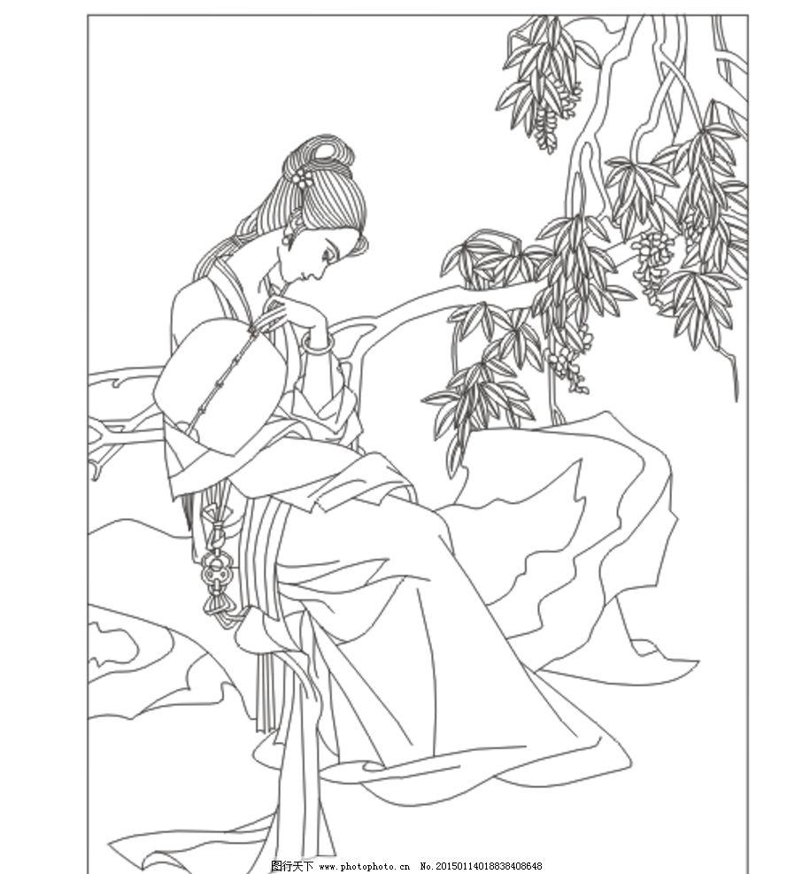 古典美女 美女 古装人物 树背景 插图 插画 矢量图 人物素材 背景素材