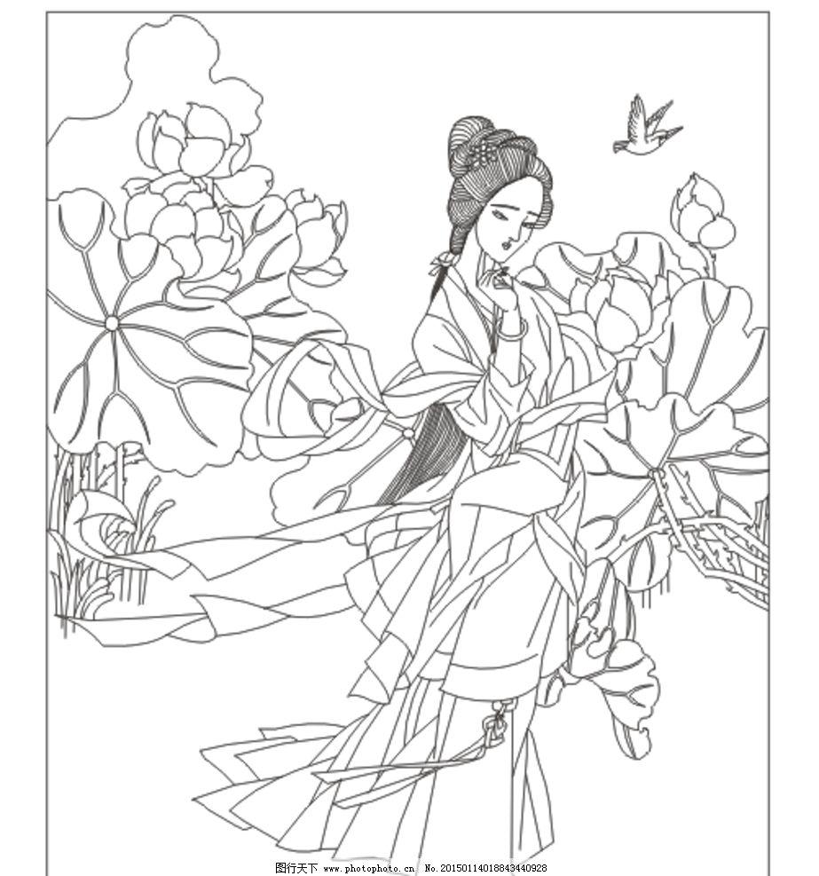 古典美女 美女 古装人物 荷花背景 插图 插画 矢量图 人物素材 背景