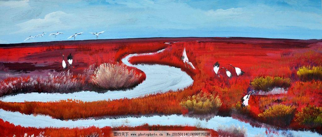 美术 油画 风景 海滩 白鹤 水道 设计 文化艺术 绘画书法 300dpi jpg