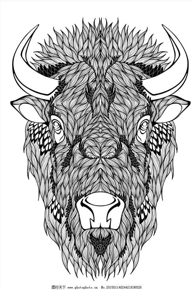 动物纹身图案 手绘 图腾 纹样 牛 手绘动物头像 纹身 设计 eps 设计