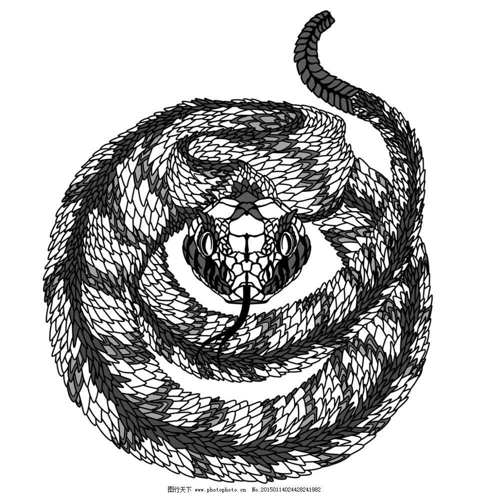 手绘 图腾 纹样 蛇 手绘动物头像 纹身 设计 eps 设计 生物世界 野生