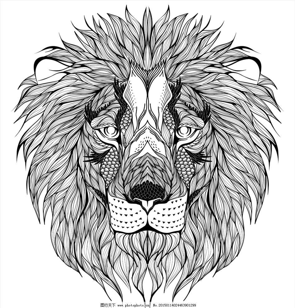 动物纹身图案 手绘 图腾 纹样 狮子 手绘动物头像 纹身 设计 eps