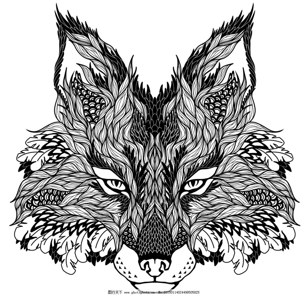 纹身 手绘 图腾 纹样 动物纹身图案 狼 手绘动物头像 设计 eps 设计