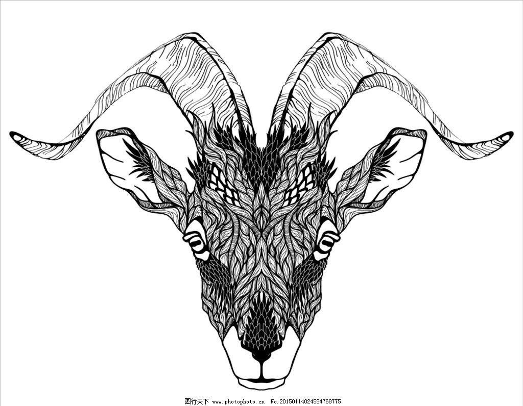 动物纹身图案 手绘 图腾 纹样 鹿 手绘动物头像 纹身 设计 eps 设计