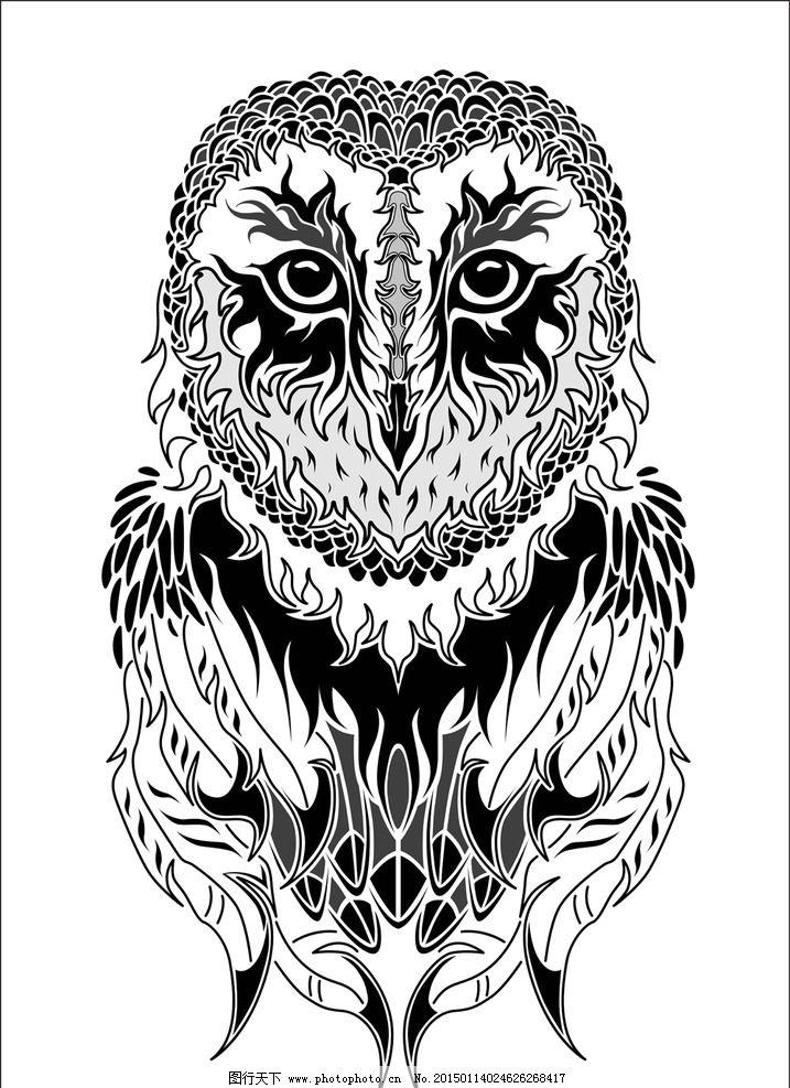 猫头鹰纹身图案设计欣赏