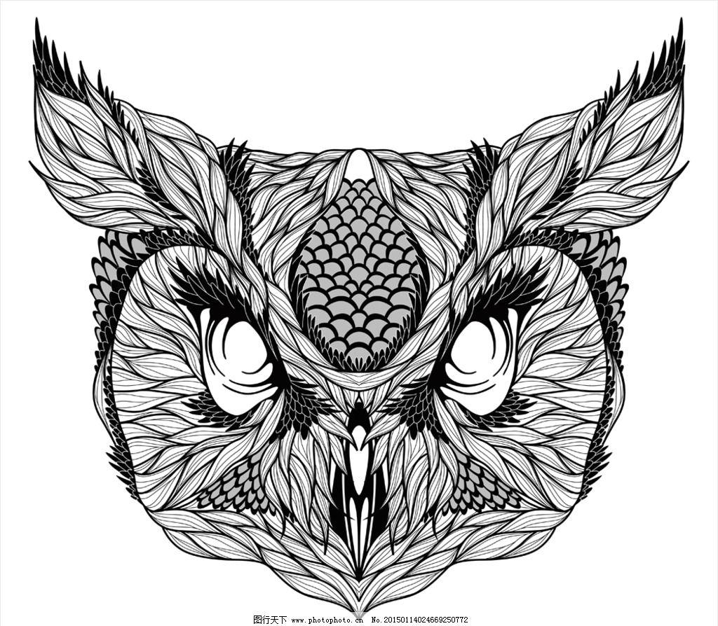 动物纹身图案 手绘 图腾 纹样 猫头鹰 手绘动物头像 纹身 设计 eps