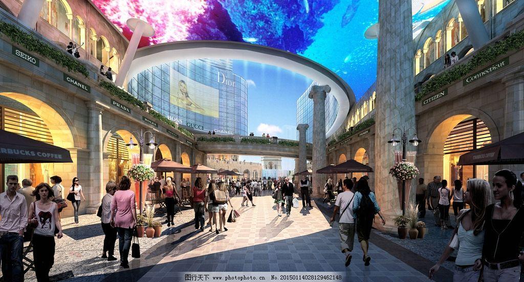 繁华商业 街道效果 地产商业 天幕效果 综合体效果图 地产效果图 设计