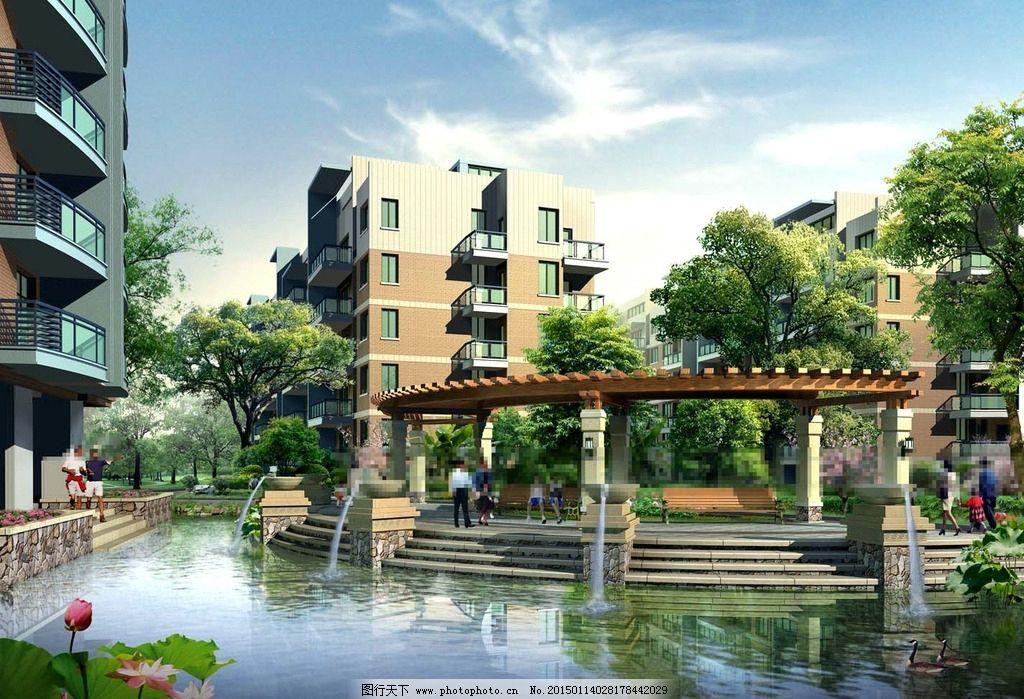 仙桃花园景观设计 池塘 喷泉 人物 荷花 草地 树木 房屋 建筑物