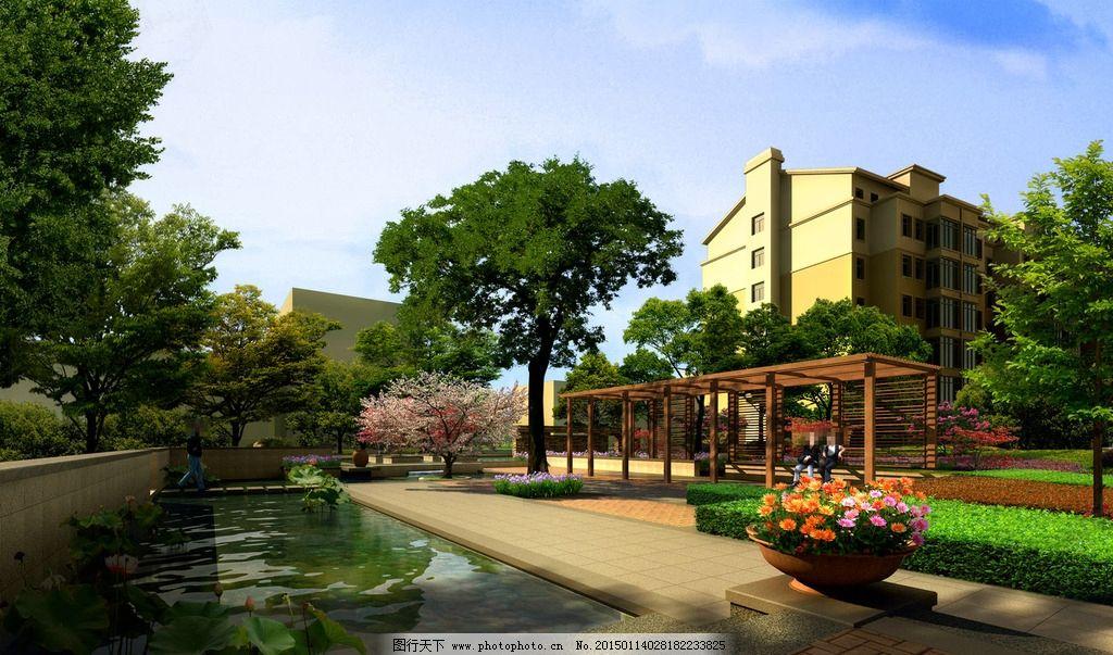 小路 鲜花 草地 树木 房屋 建筑物 蓝天 白云 设计 环境设计 景观设计