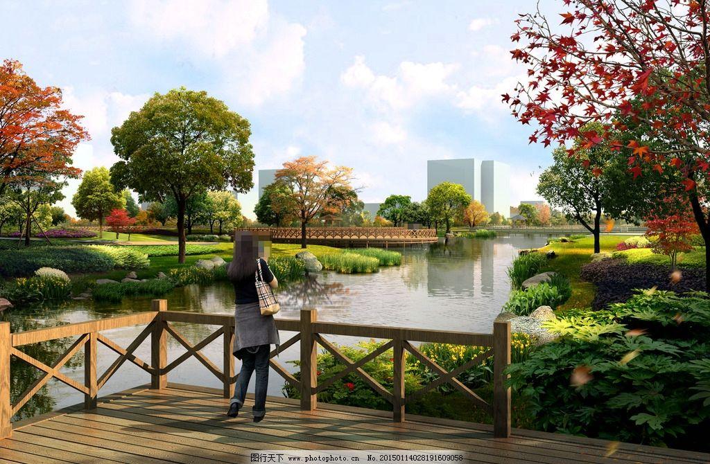 河边美丽景观设计 人物 相机 河流 木桥 石头 鲜花 草地 树木