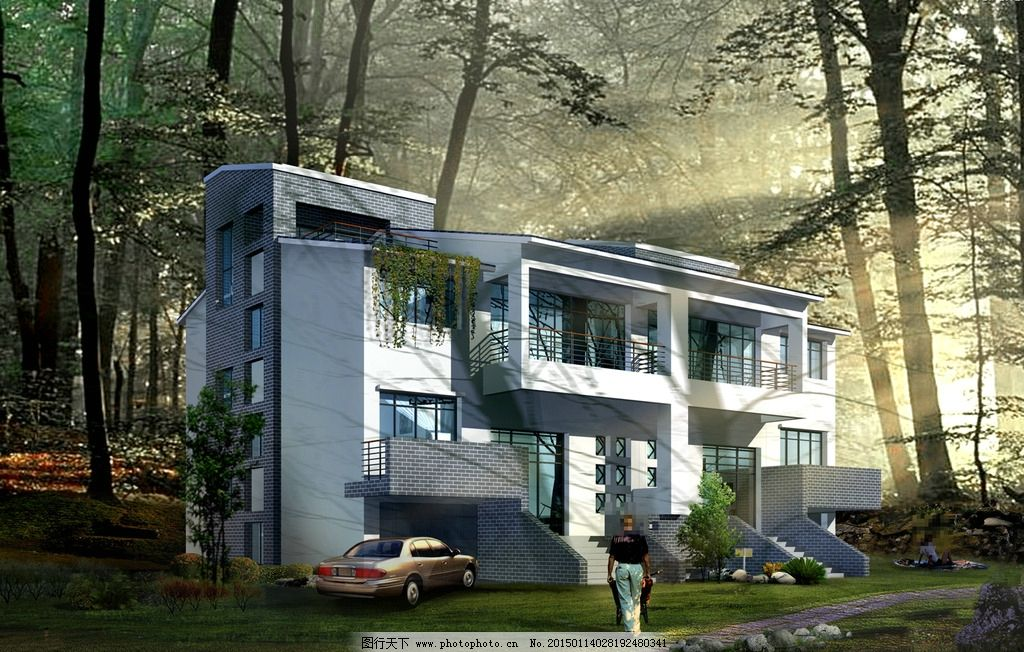 山中别墅景观设计 人物 汽车 推车 石头 草地 树木 房屋 建筑物