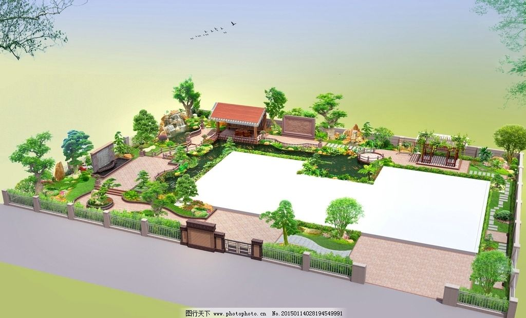 花园鸟瞰图 别墅鸟瞰图 别墅花园 景观设计 别墅花园设计 设计 环境设