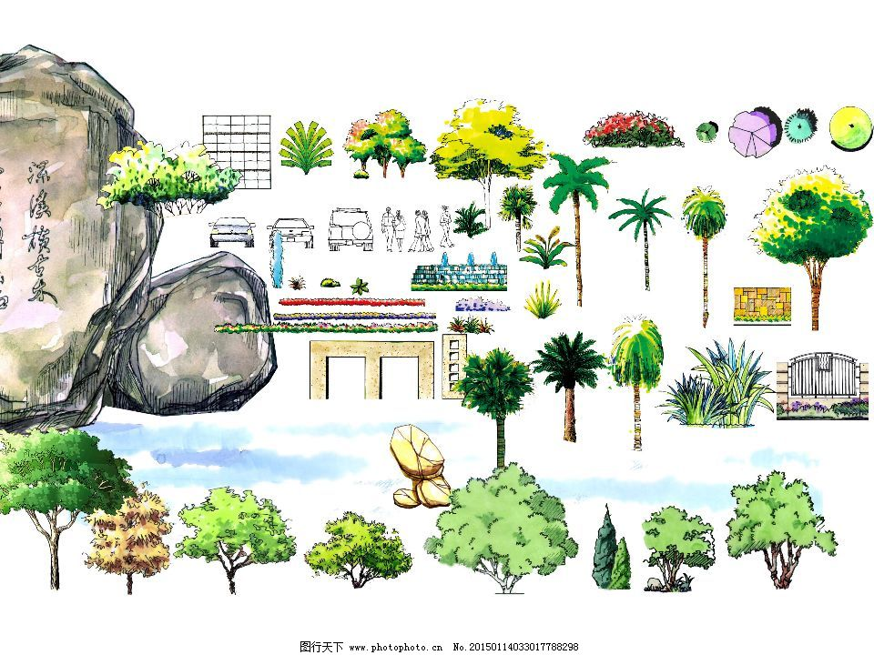手绘植物假山设计