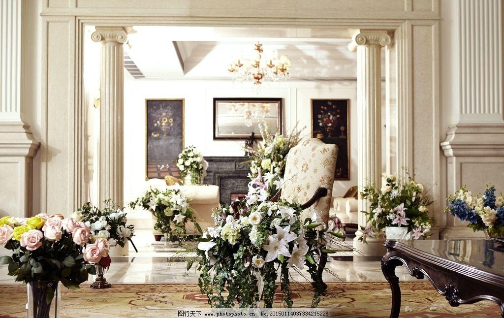 客厅鲜花 欧式 百合 牡丹 古典 场景 摄影背景 家居生活