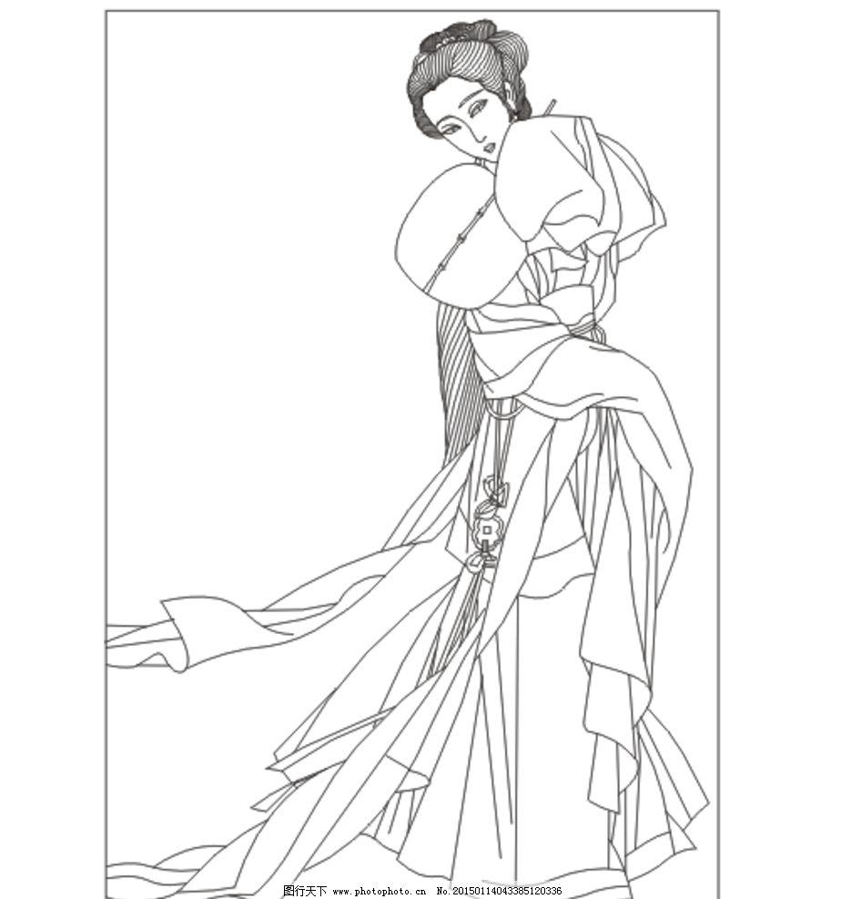古典美女线条图图片