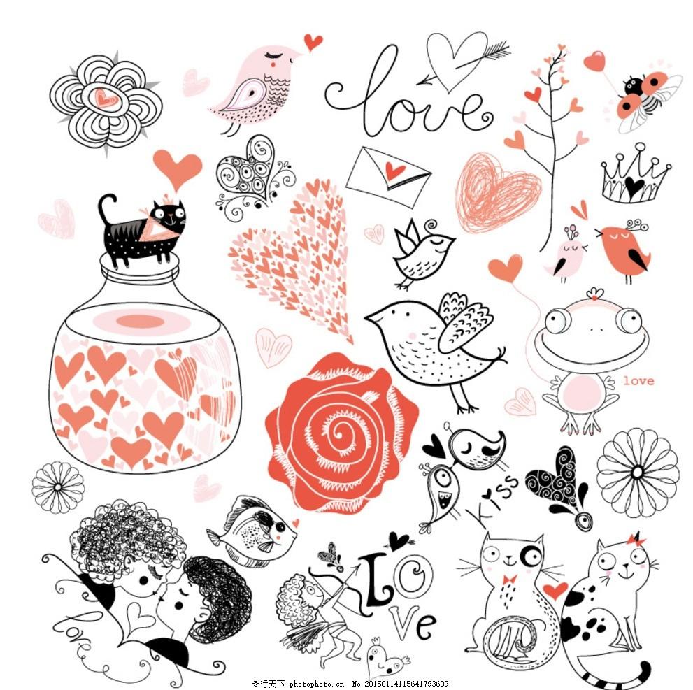 爱心 情人节 心形 手绘 插画 小鸟 花 情侣 猫 love 许愿瓶 信封 卡片