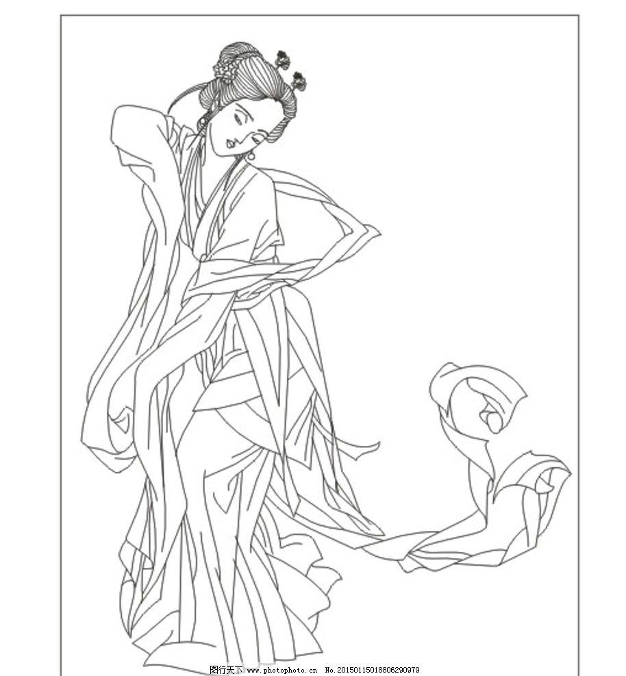 古典美女 线条图 手描图 手绘图 雕刻图 矢量 古装人物 插图