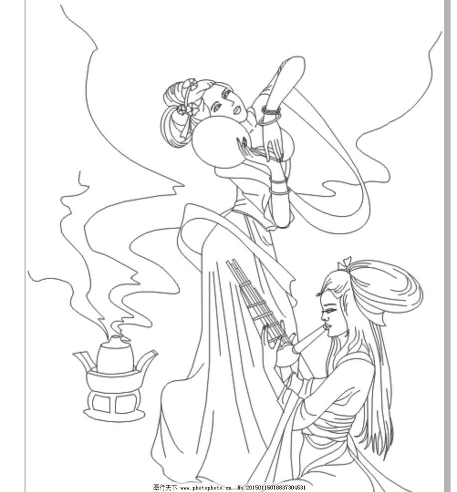 古典美女 线条图图片