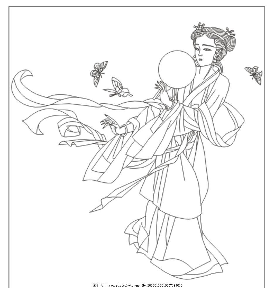 人物设计 中国风 简笔画 黑白人物图 玻璃印花 壁画 雕刻画 手绘人物