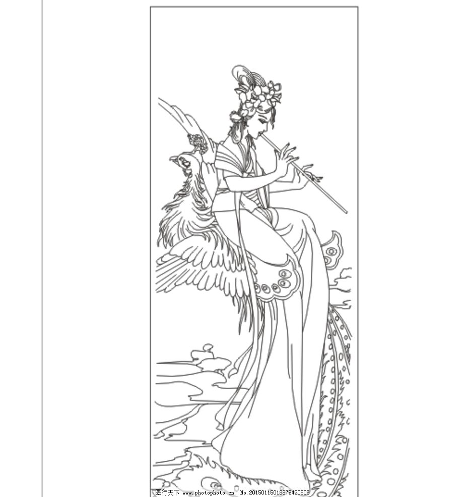 古典美女 线条图 美女 手描图 手绘图 雕刻图 矢量 古装人物 插图