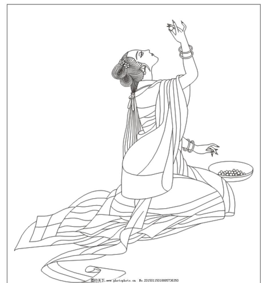 传统文化  古典美女 线条图 美女 手描图 手绘图 雕刻图 矢量 古装