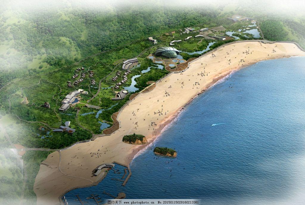 海滩景观鸟瞰图 人物 游船 大海 山峰 草地 树木 房屋 建筑物