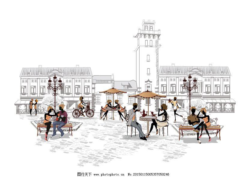 手绘,街道,咖啡馆,路灯,街景,情侣
