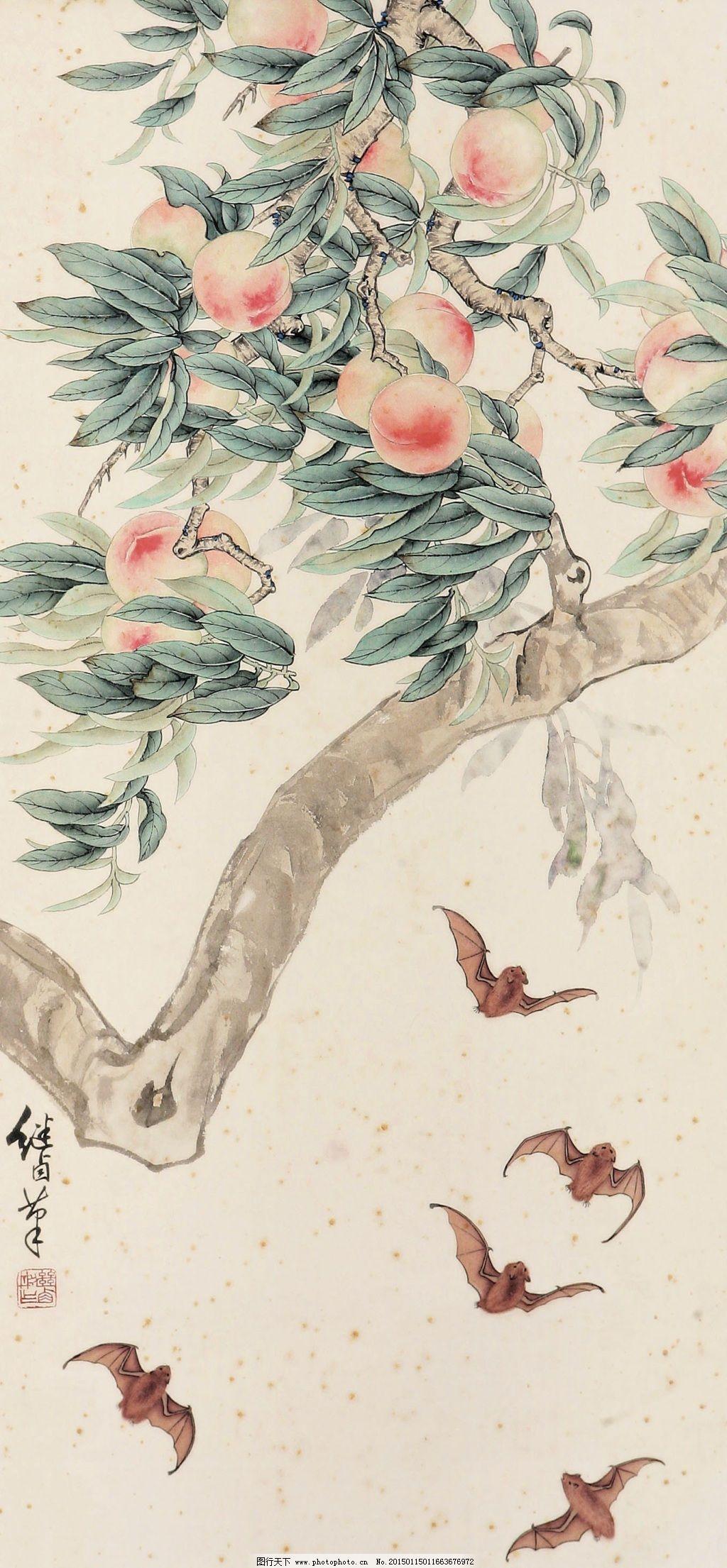 福寿图 福寿图免费下载 蝙蝠 刺绣 寿桃 中国画 立轴 工笔瓜果画