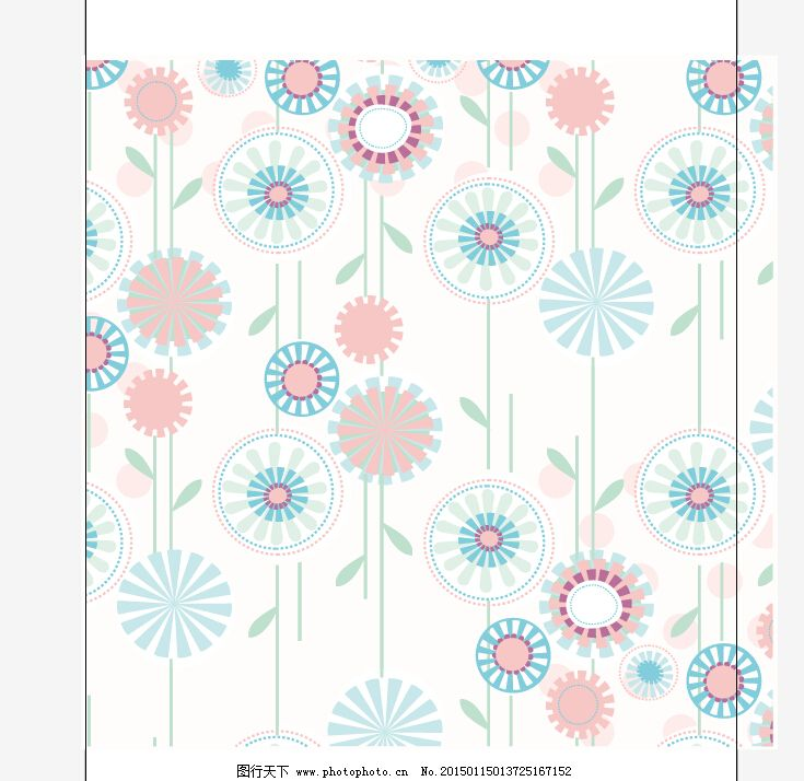 植物 组合 印花矢量图 植物 花卉 色彩 蓝色 组合 服装设计 图案花型