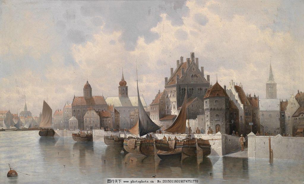 帆船 港口 油画 西方油画 欧式 复古