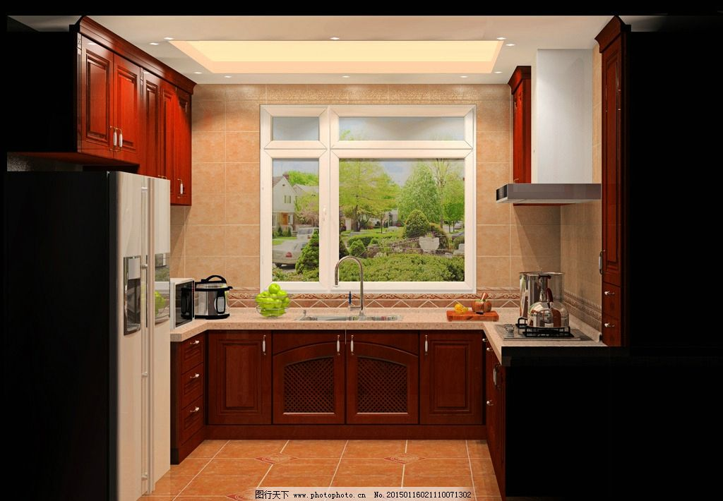实木欧式橱柜效果图图片