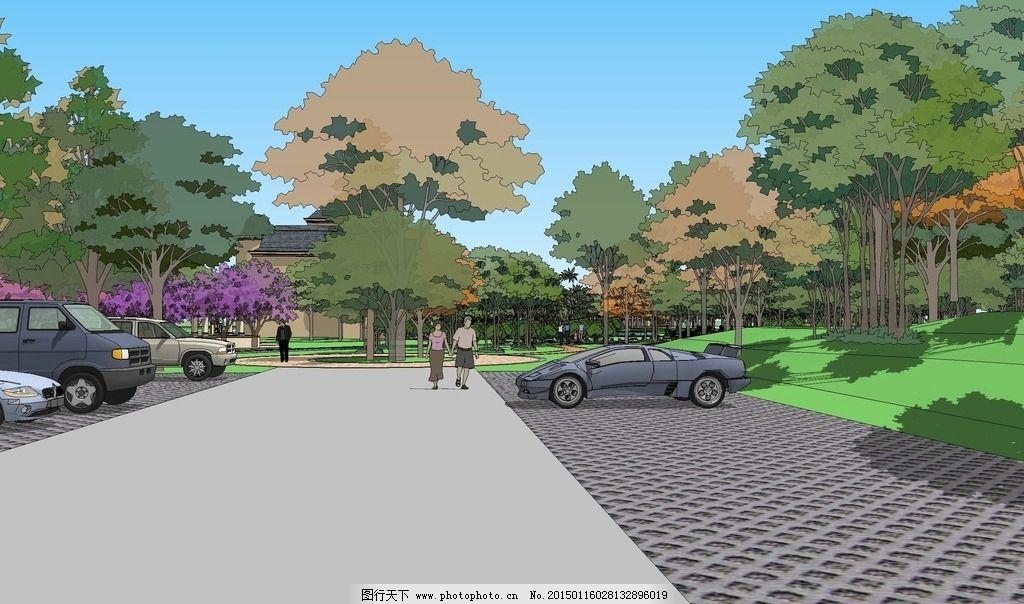 小区景观设计 环境设计 sketchup 景观效果图 设计 景观设计 设计