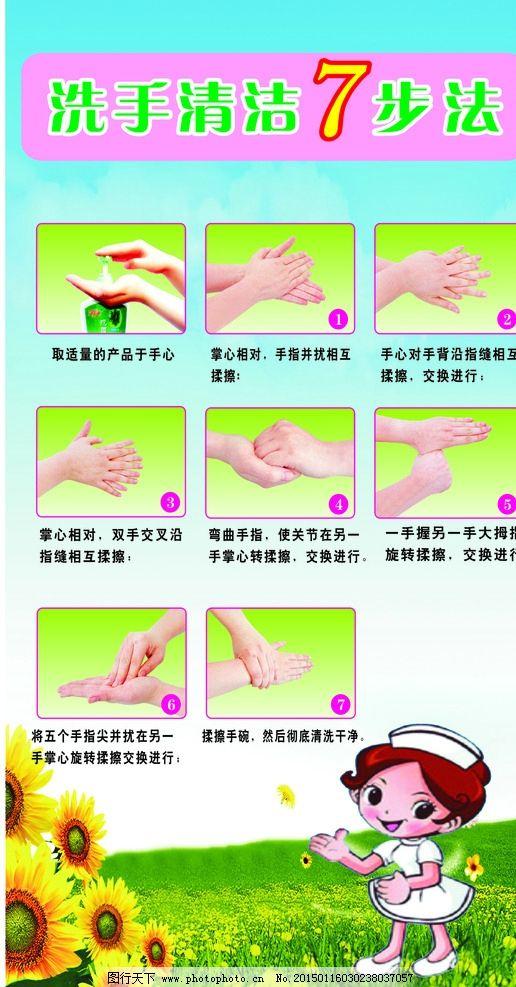 洗手 7步法 洗手步骤 幼儿园展板 幼儿园素材 幼儿园卡通 幼儿园 宣传